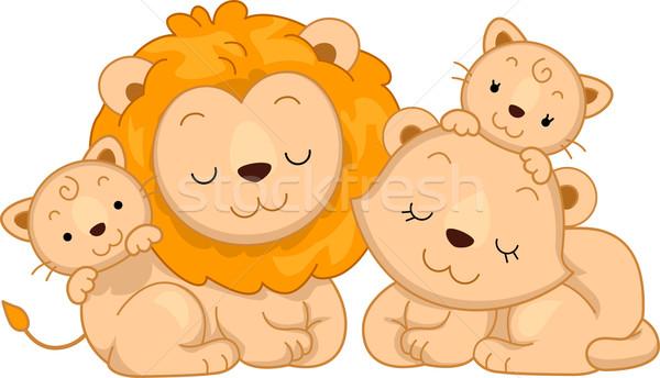 Leone famiglia illustrazione animale vettore Foto d'archivio © lenm