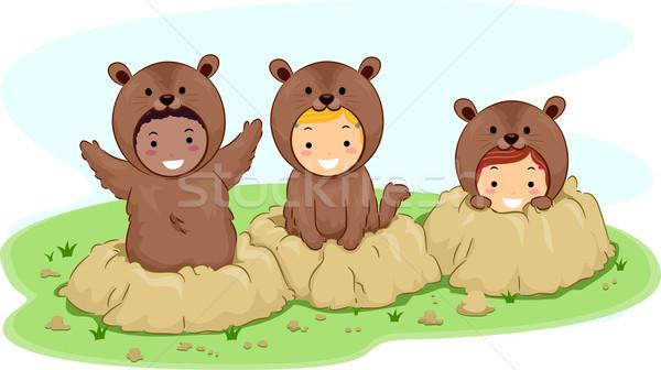 Groundhog Kids Stock photo © lenm