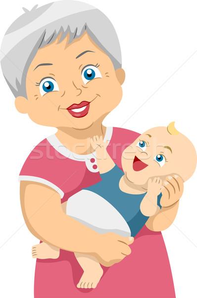 Senior illustratie meisje kind ouderen Stockfoto © lenm