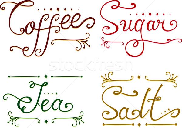 Fűszerek terv elemek illusztráció kávé cukor Stock fotó © lenm