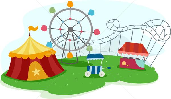 Theme Park with Rides Stock photo © lenm