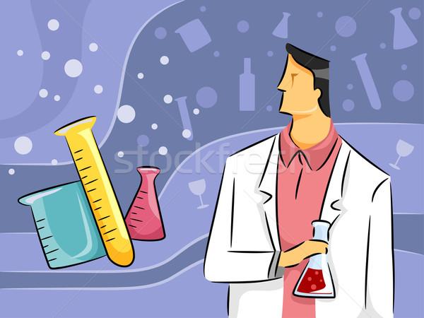 Químico cara ilustração masculino pesquisa ciência Foto stock © lenm