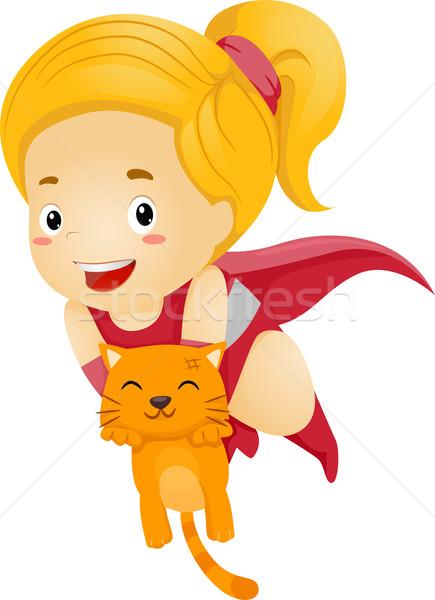 Weinig kid meisje redding kat Stockfoto © lenm