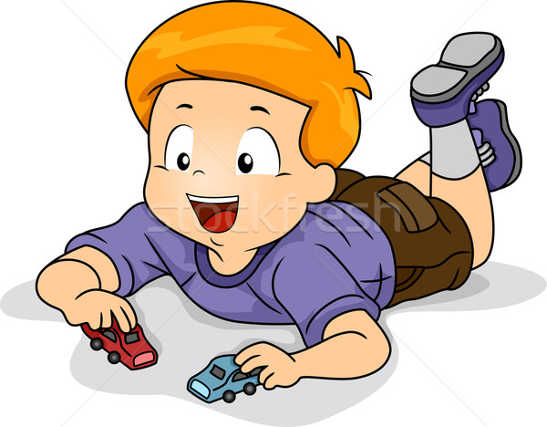 Boy Toys Drawing : Kid boy playing toy car vector illustration lenm