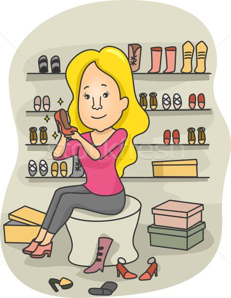 Zapato compras ilustración mujer boutique diferente Foto stock © lenm