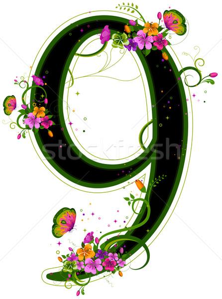 Sayılar kelebek dizayn sarmaşıklar Stok fotoğraf © lenm