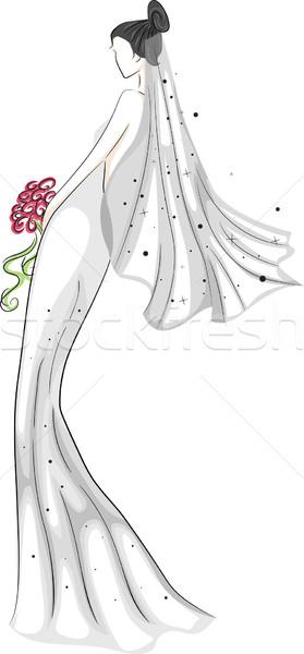 Suknia ślubna szkic ilustracja oblubienicy ślub Zdjęcia stock © lenm