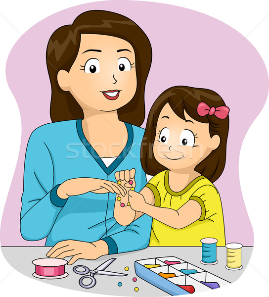 Házi készítésű kellékek illusztráció anya lánygyermek készít Stock fotó © lenm