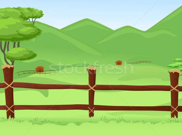 Wooden Fence Farmland Stock photo © lenm