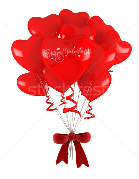 Foto stock: San · Valentín · globos · 3d · Cartoon · romance · 3D