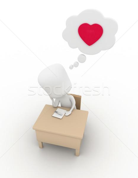 Photo stock: Amour · lettre · illustration · homme · écrit · note