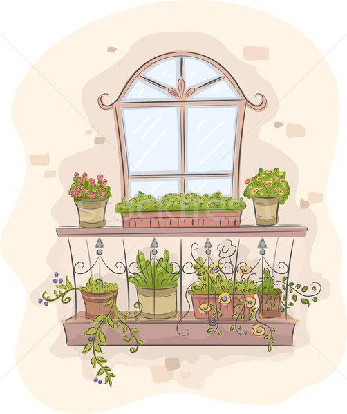 Kert erkély illusztráció tele színes növények Stock fotó © lenm