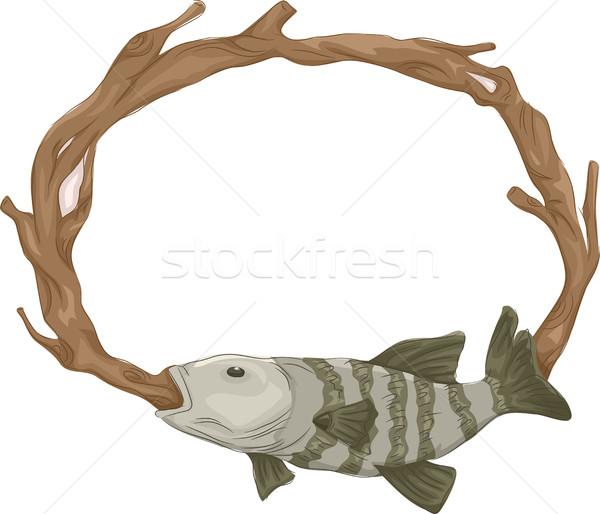Frame tassidermia pesce illustrazione ripieno abstract Foto d'archivio © lenm