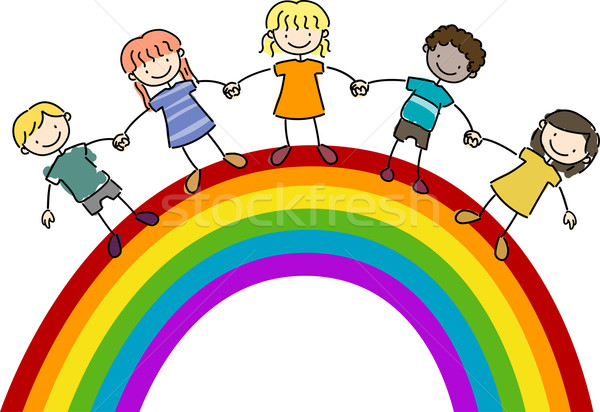 Kids Standing on Top of a Rainbow Stock photo © lenm
