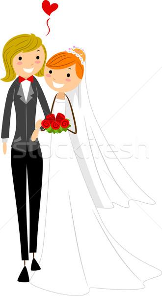 Leszbikus esküvő illusztráció pár viselet lány Stock fotó © lenm