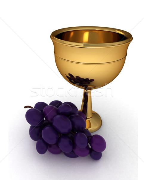 Kehely 3d illusztráció szőlő vmi mellett bor csésze Stock fotó © lenm