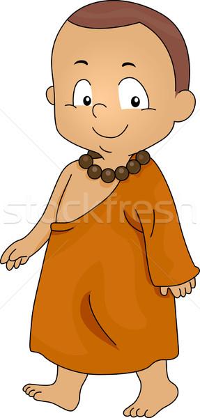 Kicsi szerzetes illusztráció sétál fiú férfi Stock fotó © lenm