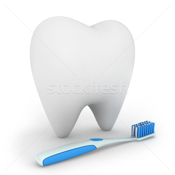 Zahnpflege 3D-Darstellung Zahnbürste Zahn Gesundheit Pinsel Stock foto © lenm