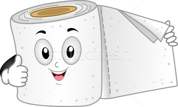 Carta igienica mascotte illustrazione bagno vettore Foto d'archivio © lenm