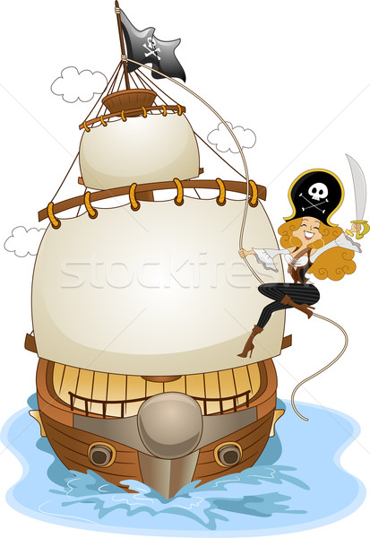 Pinup Pirate Girl on a Pirate Ship Stock photo © lenm
