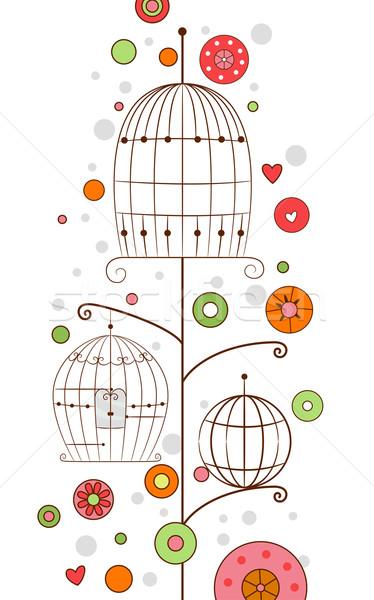 Foto stock: Pássaro · projeto · ilustração · fundo · isolado · fundo · branco