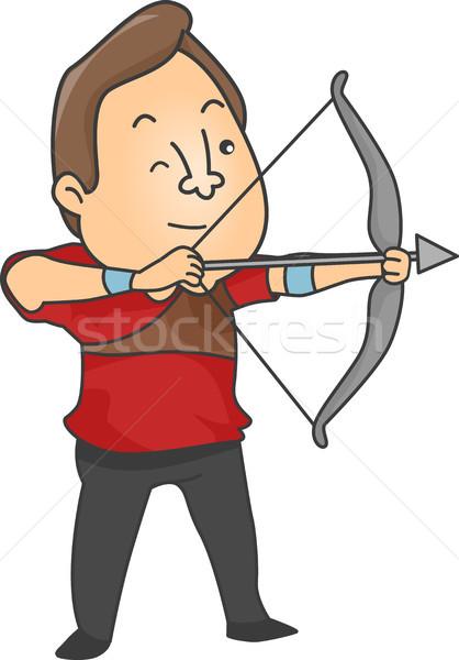 мужчины лучник иллюстрация лук стрелка весело Сток-фото © lenm