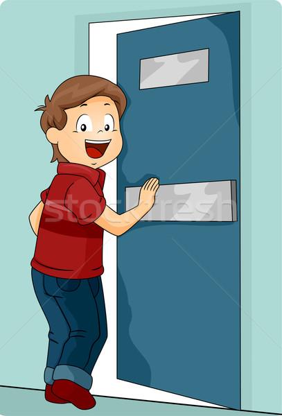 Gyerek fiú toló ajtó belépés illusztráció Stock fotó © lenm