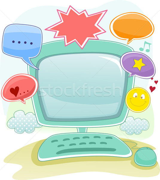Asztali számítógép keret háttér illusztráció online kommunikáció Stock fotó © lenm