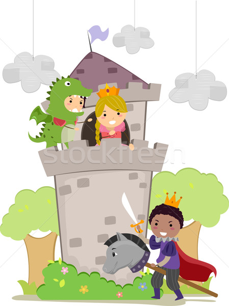 Stickman Kids in Dragon and Princess School Play Stock photo © lenm