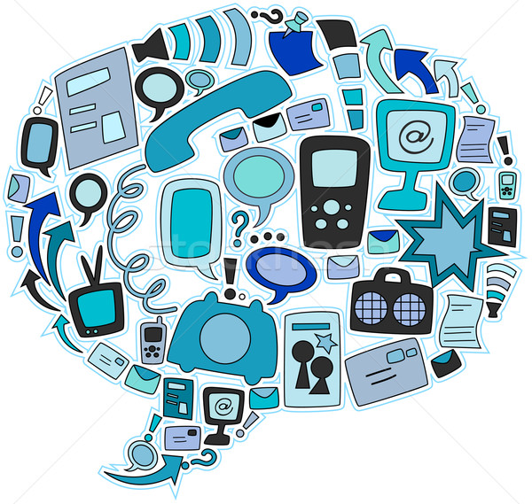 Photo stock: Communication · icônes · ordinateur · télévision · technologie