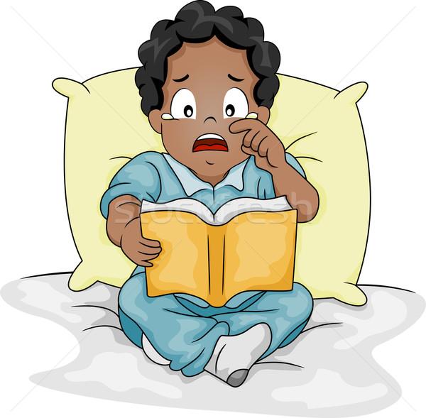 Huilen verhaal boek illustratie jongen tranen Stockfoto © lenm