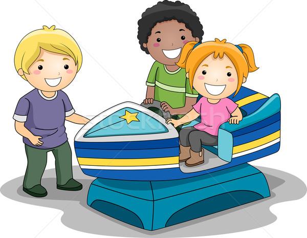 Lancha brinquedo ilustração crianças equitação crianças Foto stock © lenm