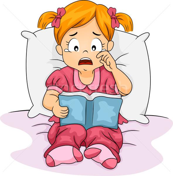 Libro illustrazione bambina piangere letto lettura Foto d'archivio © lenm