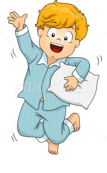 Jongen illustratie pyjama springen gelukkig Stockfoto © lenm