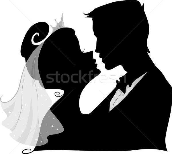 Esküvő csók sziluett illusztráció menyasszony vőlegény Stock fotó © lenm