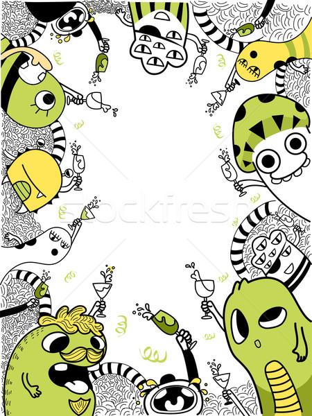 Mostro doodle sfondo illustrazione cute stile Foto d'archivio © lenm