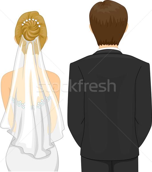Свадебная церемония вид сзади иллюстрация невеста жених женщину Сток-фото © lenm