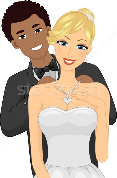 Cuplu colier ilustrare tip caucazian fată Imagine de stoc © lenm