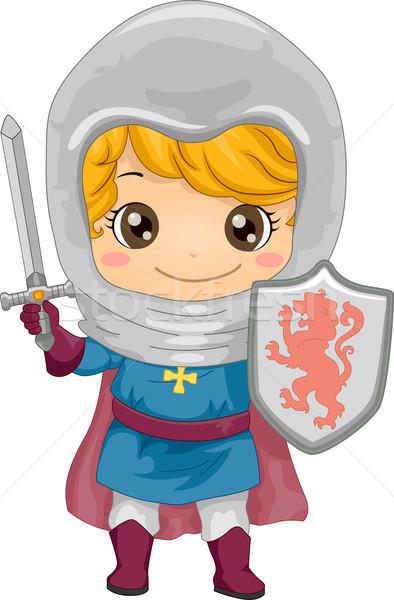 Cavaliere ragazzo illustrazione piccolo bambino giovani Foto d'archivio © lenm