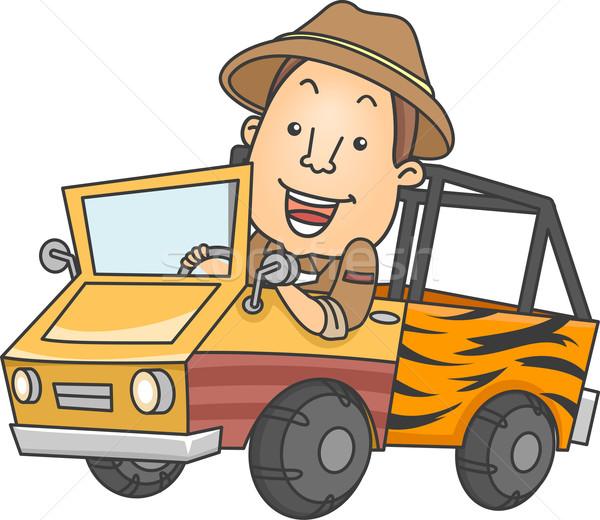 Safari camion illustration homme conduite Homme Photo stock © lenm