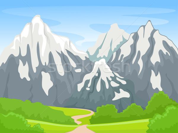 Foto stock: Montanha · cena · ilustração · neve · verde · inverno