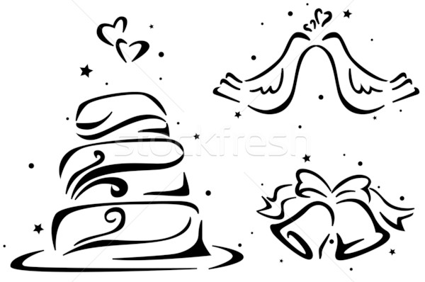 結婚式 ステンシル ウェディングケーキ ペア 結婚 ストックフォト © lenm