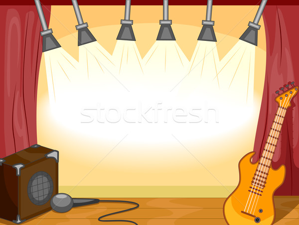 Muziekinstrumenten vergadering lege fase gitaar Stockfoto © lenm