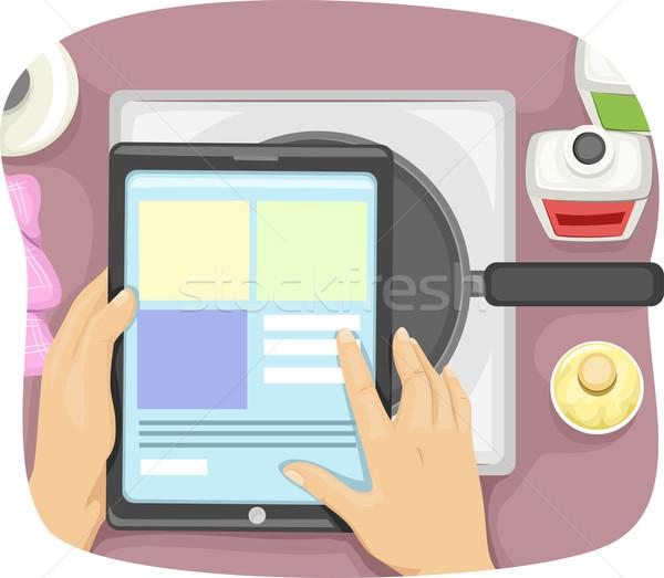 Tabletta recept illusztráció szakács táblagép csekk Stock fotó © lenm
