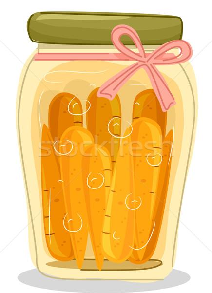 Marchew jar ilustracja zachowane żywności Zdjęcia stock © lenm