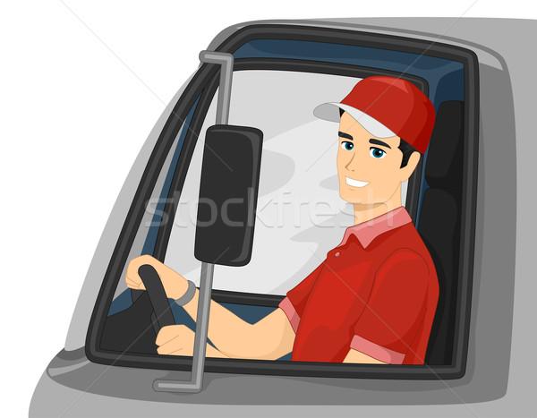 Foto d'archivio: Uomo · camion · di · consegna · driver · illustrazione · guida · camion