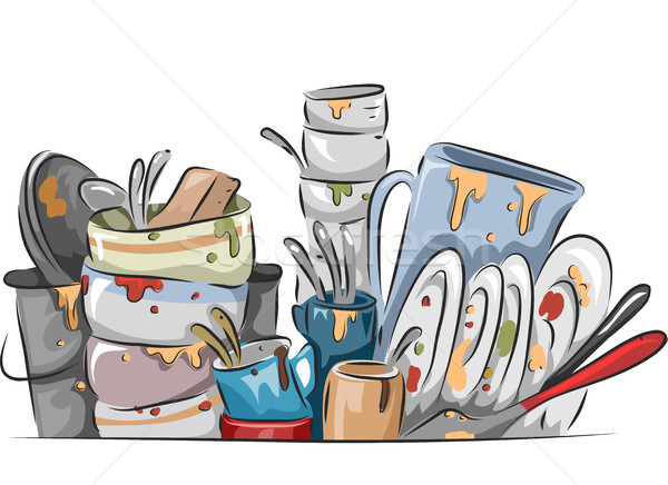 Stock photo: Stack of Dirty Dishes