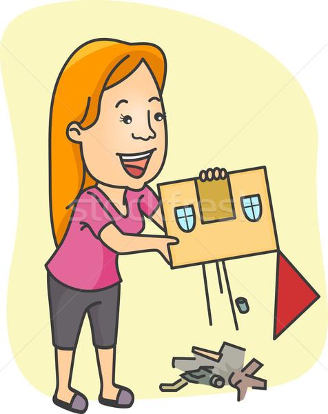 Huis schoonmaken illustratie meisje schone vuilnis Stockfoto © lenm