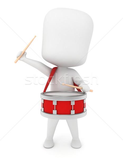 Kid барабанщик 3d иллюстрации играет барабан школы Сток-фото © lenm