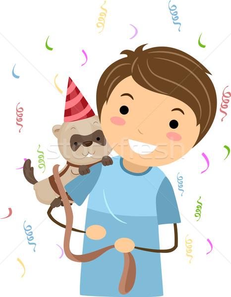Verjaardag fret illustratie kid vieren huisdier Stockfoto © lenm
